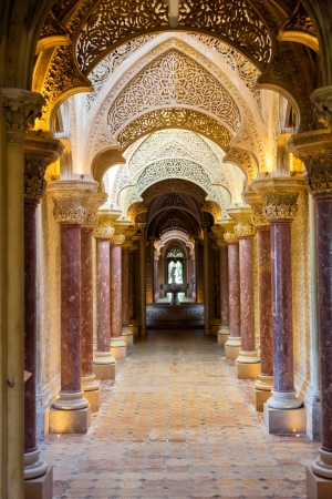 Sintra, Portugal - July 6, 2012: Fairytale corridor of Monserrate Palace in the village of Sintra, Lisbon, Portugal