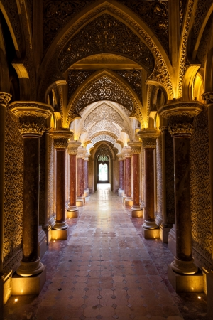 Sintra, Portugal - July 6, 2012: Fairytale corridor of Monserrate Palace in the village of Sintra, Lisbon, Portugal Editorial