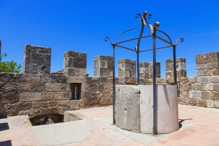 Well in a rooftop of San Jorge castle in Lisboa, Portugal