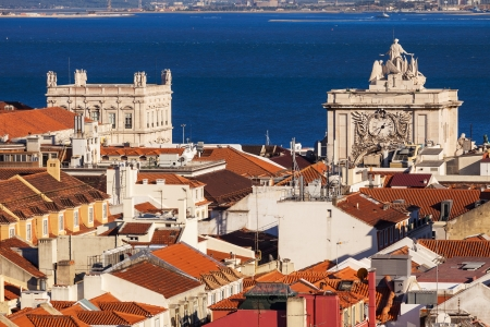 baixa: Bird view of Lisboa downtown  Baixa rooftops with Tagus river at the background  Portugal Stock Photo