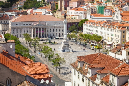 Bird view of Dom Pedro IV square  also know as Rossio   Lisboa, Portugal Stock Photo