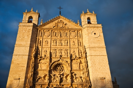 pablo: Facade of San Pablo church at sunset  Valladolid, Spain