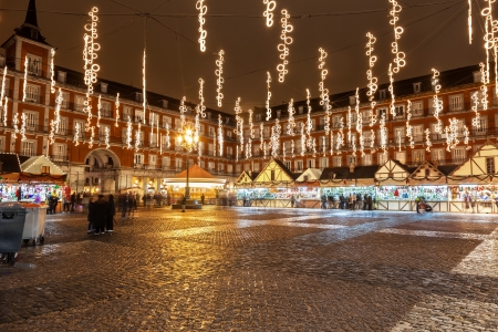 main market: Main square of Madrid illuminated for christmas