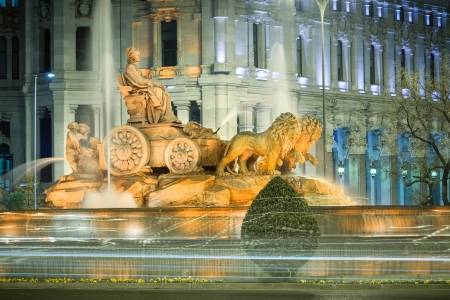 Cibeles fountain at night, Madrid, Spain photo