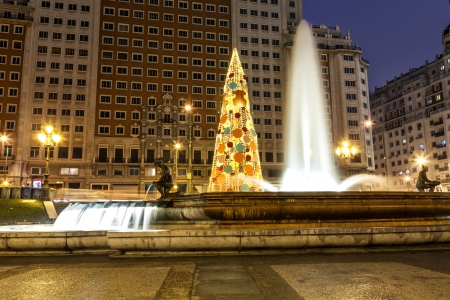 huge christmas tree: Big Christmas tree in the Spain square of Madrid at night, Spain