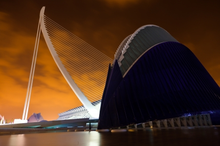 Valencia, Spain - August 25, 2011  City of Arts and Sciences by Santiago Calatrava, City of Arts and Sciences by Santiago Calatrava  The Agora and the Bridge at night Stock Photo - 22792851
