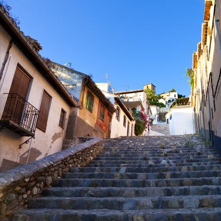granada: Typical stepped street in the neighborhood of Albaicin, Granada, Spain