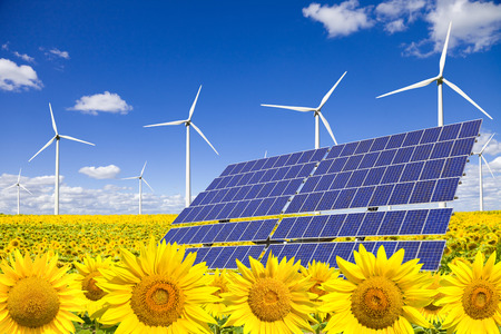 clean energy: Wind turbines and solar panels on sunflowers field