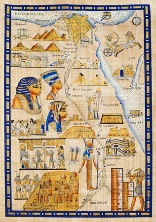 papyrus: map of Egypt drawn on Papyrus with elements most prominent of the antique Egypt