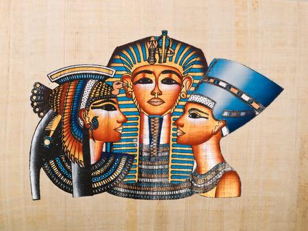 Egyptian papyrus showing Pharaoh Tutankhamen, his mather Nefertiti and his wife Anhksenamon