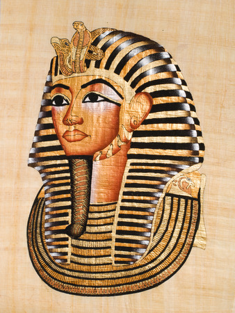 pharaoh: Egyptian papyrus, modern copy of the mask of Tutankhamen