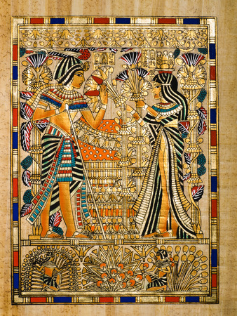 Egyptian papyrus depicting Queen Ankhesenamon bringing a bunch of papyruses and lotto flowers to Faraoh Tutankhamen