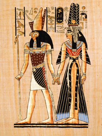 thebes: Egyptian papyrus showing Horus and Nefertari  Copy of a painting from Nefertaris tomb in Thebes