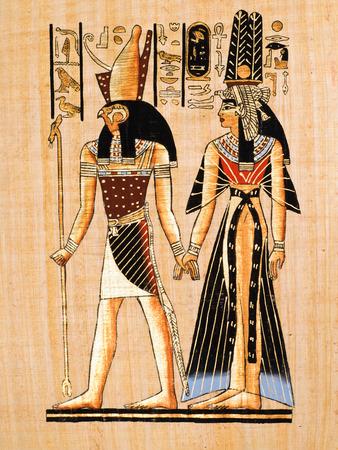 horus: Papiro egipcio Horus y Nefertari muestran Copia de una pintura de Nefertaris tumba en Tebas