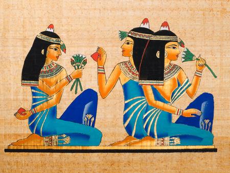 Papiro egiziano che mostra alcune donne in una scena di banchetto Archivio Fotografico - 26389621