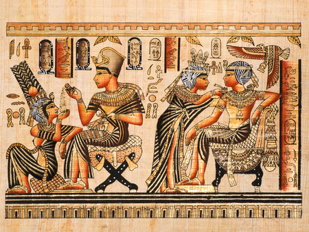 Egyptian papyrus showing both scenes of Tutankhamen and his wife Anhksenamon  Editorial