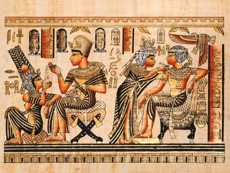 Egyptische papyrus waarbij zowel scènes van Toetanchamon en zijn vrouw Anhksenamon Stockfoto - 26389622