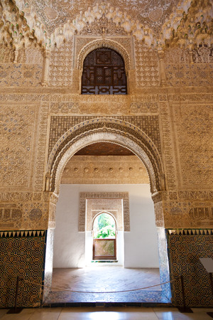 latticework: Granada, Spain - August 23, 2011: Alhambra de Granada. The Hall of the Two Sisters, the second main chamber of the Palace of the Lions Editorial