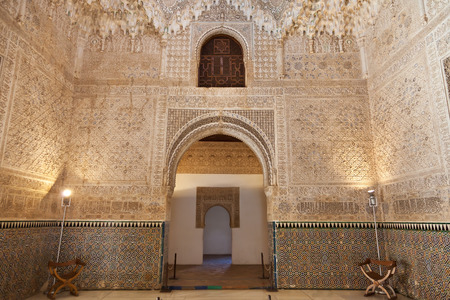 granada: Granada, Spain - August 23, 2011: Alhambra de Granada. The Hall of the Two Sisters, the second main chamber of the Palace of the Lions. Access to Charles Vs rooms