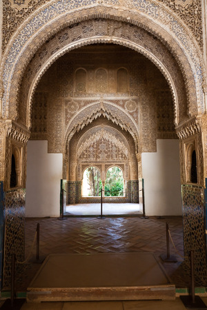 vestibule: Granada, Spain - August 23, 2011: Alhambra de Granada.The Court of the Vestibule or Observation Point of Daraxa at the end of the arches.