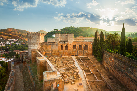 spanish culture: Granada, Spain - October 03, 2013: Alhambra de Granada. The Alcazaba at sunrise. UNESCO World Heritage Site