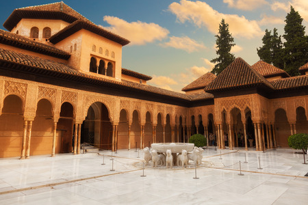 Granada, Spain - October 03, 2013: Alhambra de Granada. The Court of the Lions with its famous white marble fountain Editöryel