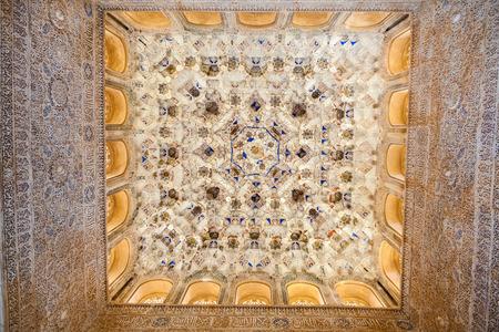 plasterwork: Granada, Spain - October 03, 2013: Alhambra de Granada. Vault in Nasrid Palaces