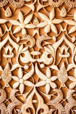 plasterwork: Granada, Spain - October 03, 2013: Alhambra de Granada. Islamic plasterwork in Nasrid Palaces. Spain