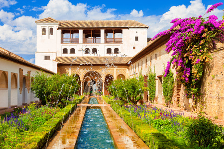Granada, Spain - October 03, 2013: Alhambra de Granada. The Generalife with its famous fountain and garden. UNESCO World Heritage Site