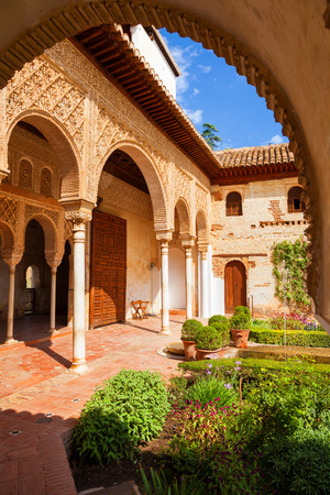 granada: Granada, Spain - October 03, 2013: Alhambra de Granada. The Generalife with its famous fountain and garden. UNESCO World Heritage Site