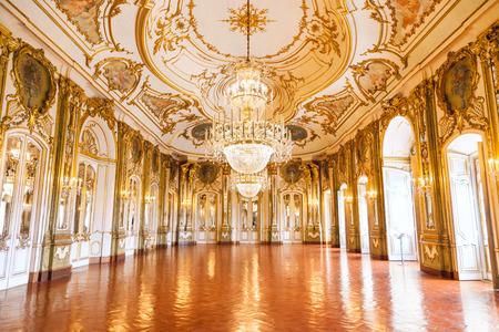 ballroom: Queluz, Portugal - July 04, 2012: The Ballroom of Queluz National Palace, in the municipality of Sintra, Lisbon district