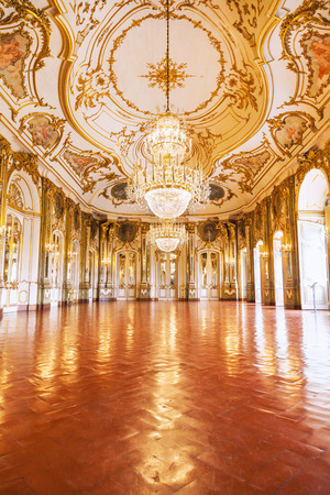 Queluz, Portugal - July 04, 2012: The Ballroom of Queluz National Palace, in the municipality of Sintra, Lisbon district
