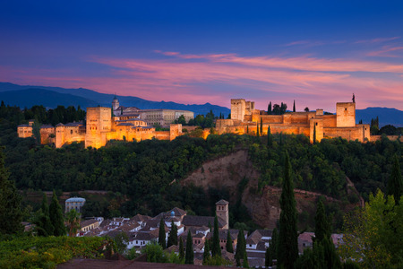 Alhambra de Granada. Panoramic view at dusk