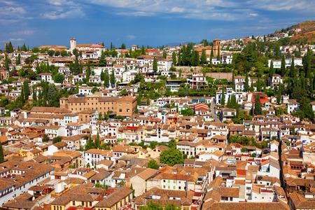 the  alhambra: The Albaicin neighborhood seen from the Alhambra de Granada.