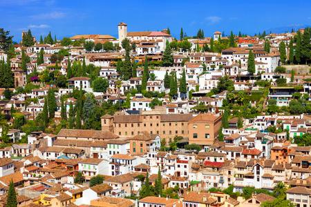 the  alhambra: The Albaicin neighborhood seen from the Alhambra de Granada.  Stock Photo