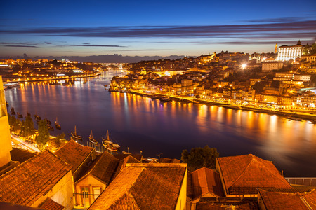 douro: Panoramic of old Porto and Douro river at night, Portugal