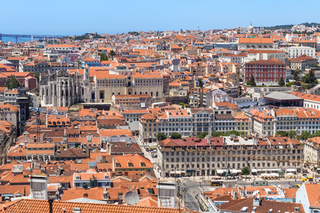 chiado: Bird view of Lisboa downtown. Panoramic of Baixa, Rossio and Chiado rooftops. Portugal Stock Photo