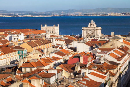 baixa: Bird view of Lisboa downtown. Baixa rooftops with Tagus river at the background. Portugal