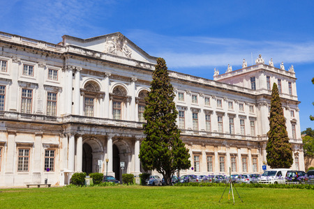 neoclassical: The Ajuda National Palace of Lisbon, Portugal. The eastern facade (and main entrance). Built in neoclassical style, today is a museum