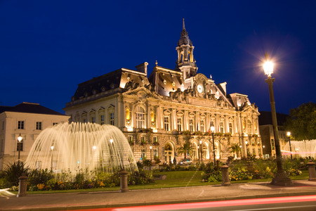 Hotel de Ville (City Hall) of Tours at night. France
