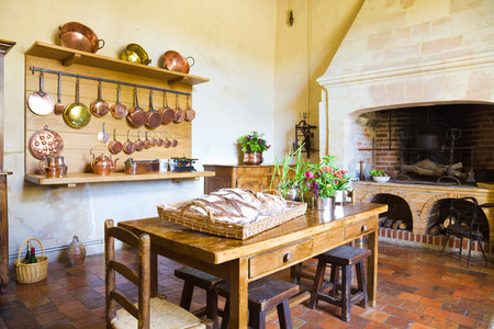 old kitchen: Very old kitchen with fireplace Stock Photo