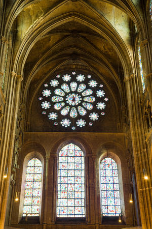chartres: Chartres Cathedral interior view, France Editorial