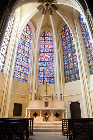 chartres: Little chapel with nice stained glasses inside Chartres Cathedral, France