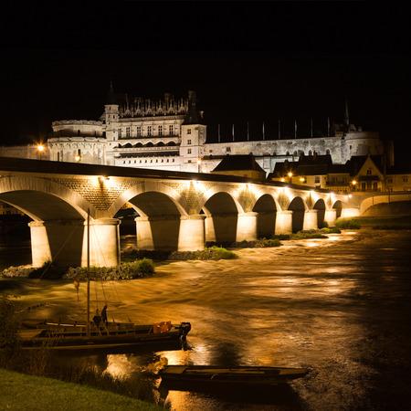 Amboise bridge and Chateau at night, France