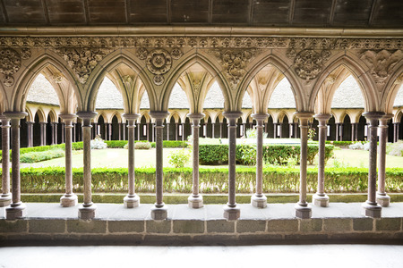 Cloister of Mont St. Michel, France Editorial