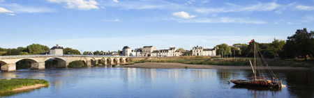 chinon: Vienne river and bridge. Ville of Chinon, France Stock Photo
