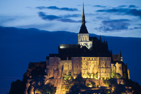 michel: Abbaye of Mont St. Michel at night, France