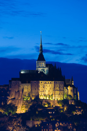 st  michel: Abbaye of Mont St. Michel at night, France