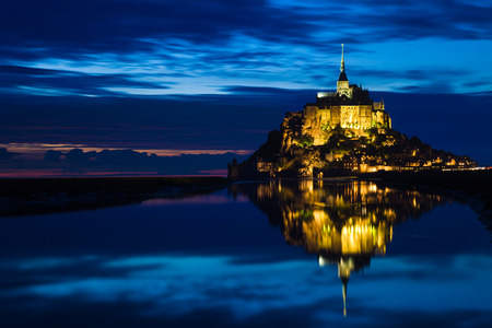 michel: Mont St. Michel reflected in the sea at night