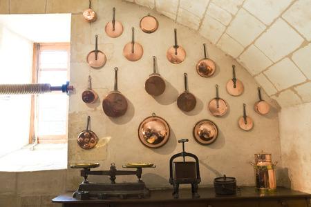 cucina antica: Old Kitchen da Chenonceau Chateau, Francia Editoriali